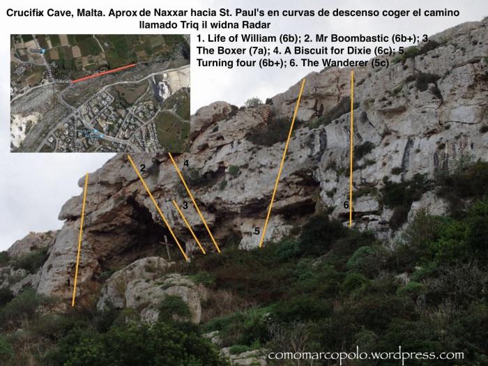 Topo, Croquis Escalada, Crucifix Cave
