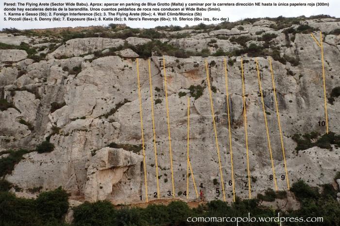 Topo, Croquis Escalada, Flying Arete, Wied Babu, Malta