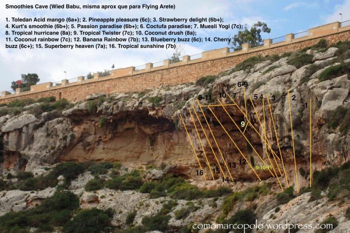 Topo, Croquis Escalada, Smoothies Cave, Wied Babu, Malta