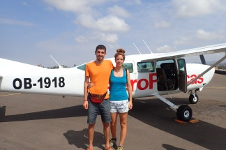 En la avioneta esperando a sobrevolar las Líneas de Nazca