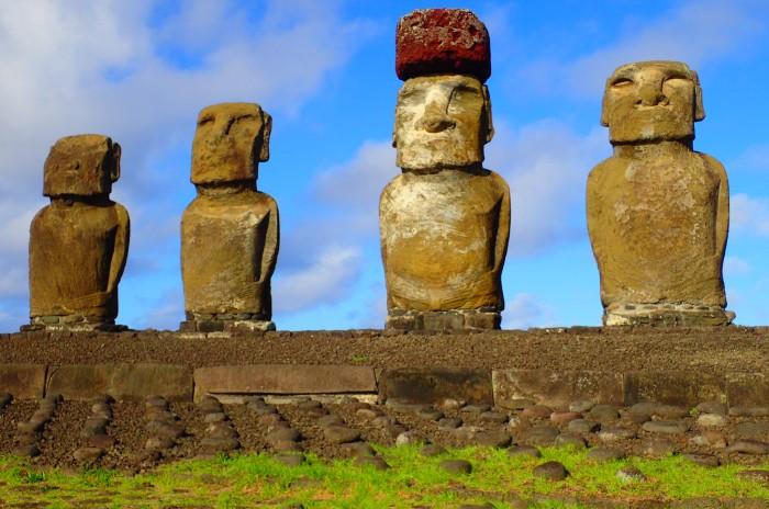 Detalle de los moai de Tongariki