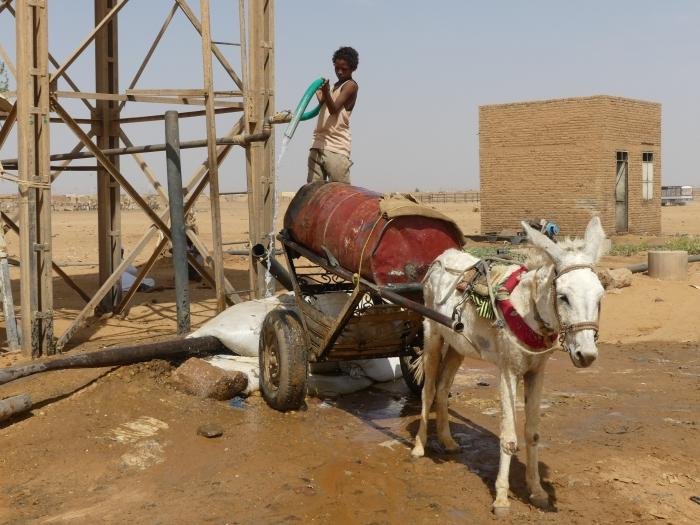 Niño cargando el agua para repartirla por las casas y dar de beber al ganado
